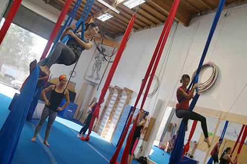 Mother and Daughter on Aerial Silks