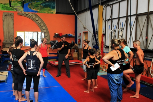 Teaching at Ecole de Cirque Pitreries in Southern France